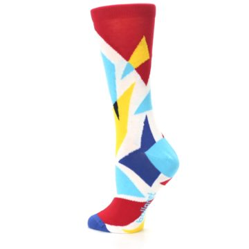 Image of Red Yellow Blue Triangles Women's Dress Socks (side-2-back-14)
