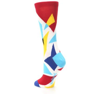Image of Red Yellow Blue Triangles Women's Dress Socks (side-2-back-15)