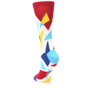 Image of Red Yellow Blue Triangles Women's Dress Socks (side-2-back-16)