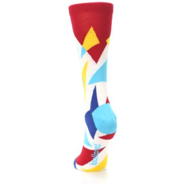 Image of Red Yellow Blue Triangles Women's Dress Socks (back-17)