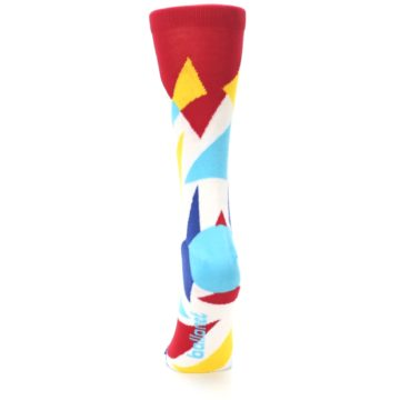 Image of Red Yellow Blue Triangles Women's Dress Socks (back-18)