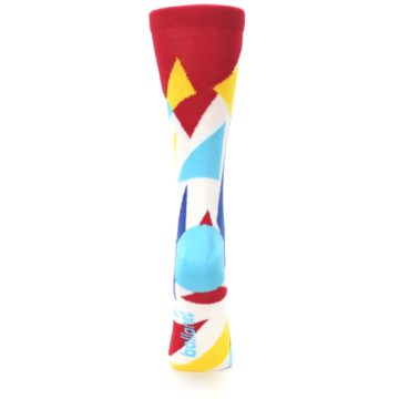 Image of Red Yellow Blue Triangles Women's Dress Socks (back-19)