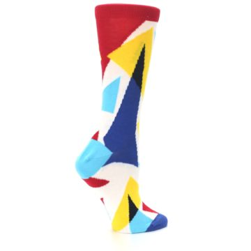 Image of Red Yellow Blue Triangles Women's Dress Socks (side-1-24)