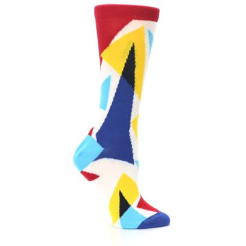 Image of Red Yellow Blue Triangles Women's Dress Socks (side-1-25)