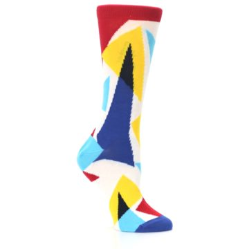 Image of Red Yellow Blue Triangles Women's Dress Socks (side-1-26)
