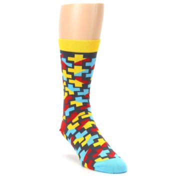 Image of Yellow Gray Red Blue Plus Men's Dress Socks (side-1-front-02)