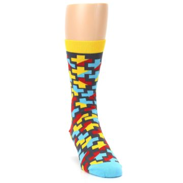 Image of Yellow Gray Red Blue Plus Men's Dress Socks (side-1-front-03)