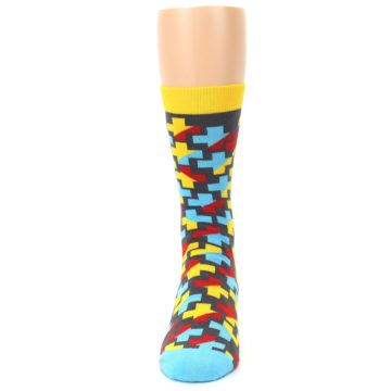 Image of Yellow Gray Red Blue Plus Men's Dress Socks (front-05)