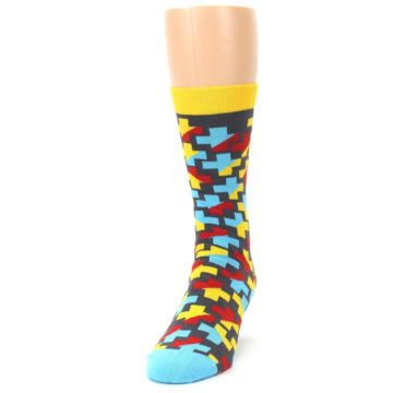 Image of Yellow Gray Red Blue Plus Men's Dress Socks (side-2-front-06)