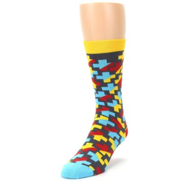 Image of Yellow Gray Red Blue Plus Men's Dress Socks (side-2-front-07)