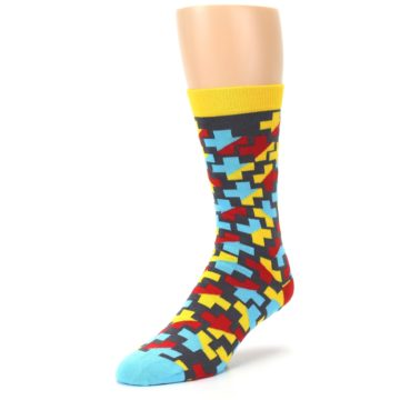 Image of Yellow Gray Red Blue Plus Men's Dress Socks (side-2-front-08)
