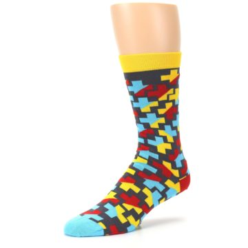 Image of Yellow Gray Red Blue Plus Men's Dress Socks (side-2-09)