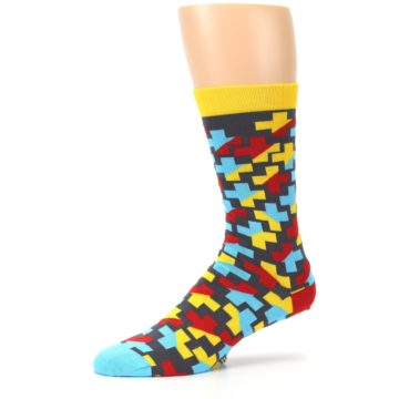 Image of Yellow Gray Red Blue Plus Men's Dress Socks (side-2-10)