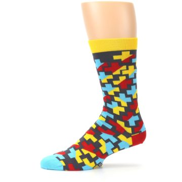Image of Yellow Gray Red Blue Plus Men's Dress Socks (side-2-11)