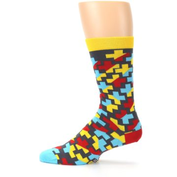 Image of Yellow Gray Red Blue Plus Men's Dress Socks (side-2-12)