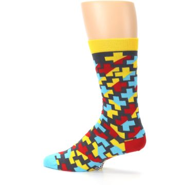 Image of Yellow Gray Red Blue Plus Men's Dress Socks (side-2-13)