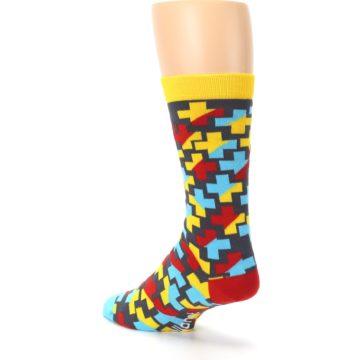 Image of Yellow Gray Red Blue Plus Men's Dress Socks (side-2-back-15)
