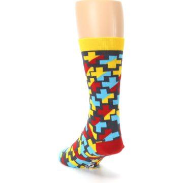Image of Yellow Gray Red Blue Plus Men's Dress Socks (side-2-back-16)