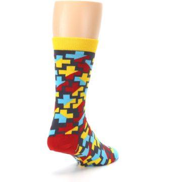 Image of Yellow Gray Red Blue Plus Men's Dress Socks (side-1-back-21)