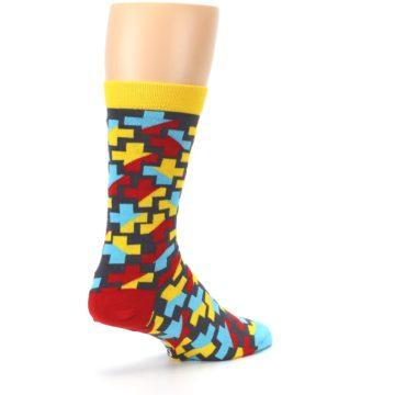 Image of Yellow Gray Red Blue Plus Men's Dress Socks (side-1-back-22)
