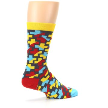 Image of Yellow Gray Red Blue Plus Men's Dress Socks (side-1-23)