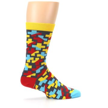 Image of Yellow Gray Red Blue Plus Men's Dress Socks (side-1-24)