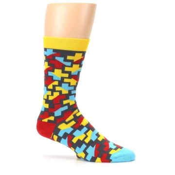 Image of Yellow Gray Red Blue Plus Men's Dress Socks (side-1-25)