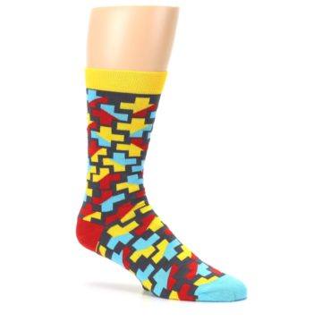 Image of Yellow Gray Red Blue Plus Men's Dress Socks (side-1-26)