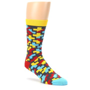 Image of Yellow Gray Red Blue Plus Men's Dress Socks (side-1-27)