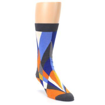 Image of Blue Orange Gray Geometric Pattern Men's Dress Socks (side-1-front-02)