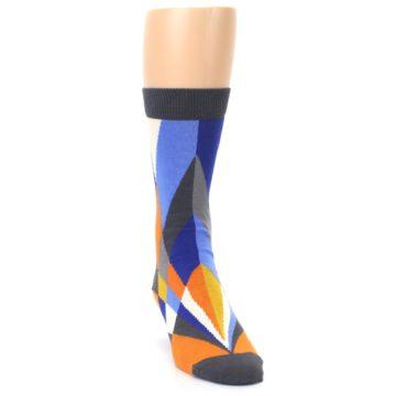 Image of Blue Orange Gray Geometric Pattern Men's Dress Socks (side-1-front-03)