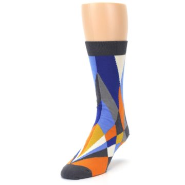 Image of Blue Orange Gray Geometric Pattern Men's Dress Socks (side-2-front-07)