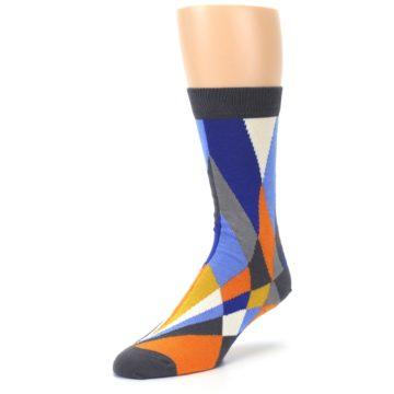 Image of Blue Orange Gray Geometric Pattern Men's Dress Socks (side-2-front-08)