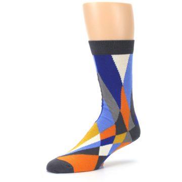 Image of Blue Orange Gray Geometric Pattern Men's Dress Socks (side-2-09)