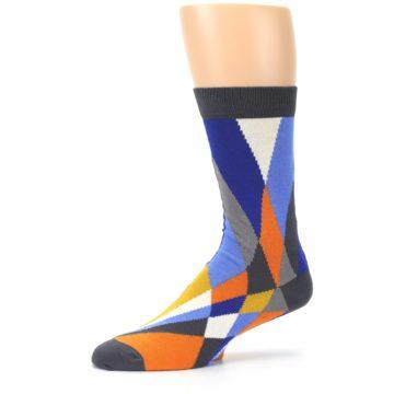 Image of Blue Orange Gray Geometric Pattern Men's Dress Socks (side-2-10)