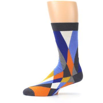 Image of Blue Orange Gray Geometric Pattern Men's Dress Socks (side-2-11)