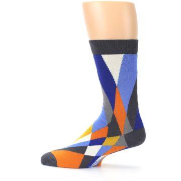 Image of Blue Orange Gray Geometric Pattern Men's Dress Socks (side-2-12)
