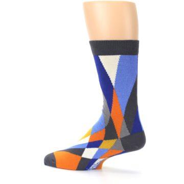 Image of Blue Orange Gray Geometric Pattern Men's Dress Socks (side-2-13)