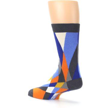 Image of Blue Orange Gray Geometric Pattern Men's Dress Socks (side-2-back-14)