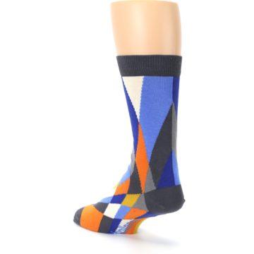 Image of Blue Orange Gray Geometric Pattern Men's Dress Socks (side-2-back-15)