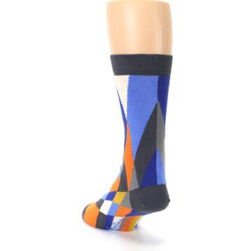 Image of Blue Orange Gray Geometric Pattern Men's Dress Socks (side-2-back-16)