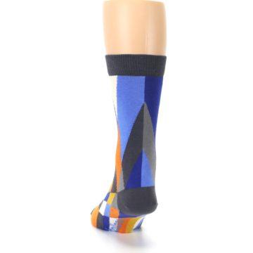 Image of Blue Orange Gray Geometric Pattern Men's Dress Socks (back-17)