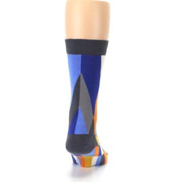 Image of Blue Orange Gray Geometric Pattern Men's Dress Socks (back-19)