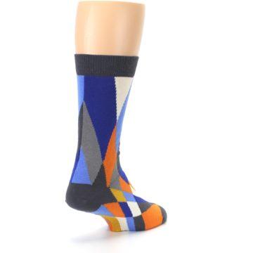 Image of Blue Orange Gray Geometric Pattern Men's Dress Socks (side-1-back-21)