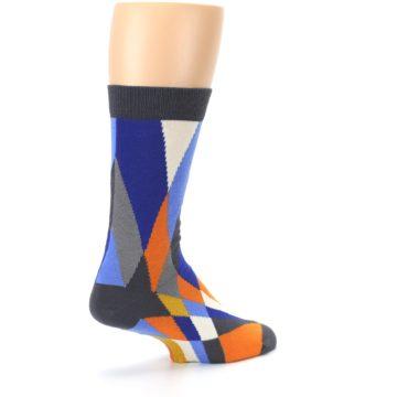 Image of Blue Orange Gray Geometric Pattern Men's Dress Socks (side-1-back-22)