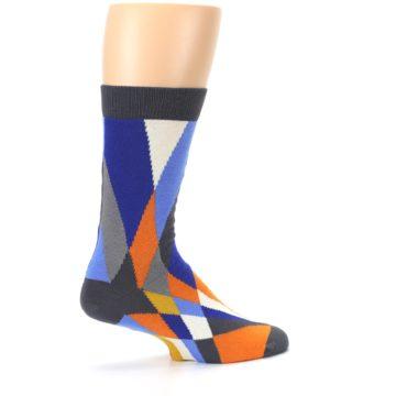 Image of Blue Orange Gray Geometric Pattern Men's Dress Socks (side-1-23)