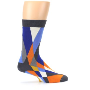 Image of Blue Orange Gray Geometric Pattern Men's Dress Socks (side-1-24)