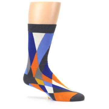 Image of Blue Orange Gray Geometric Pattern Men's Dress Socks (side-1-25)