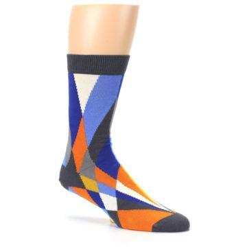 Image of Blue Orange Gray Geometric Pattern Men's Dress Socks (side-1-26)