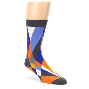 Image of Blue Orange Gray Geometric Pattern Men's Dress Socks (side-1-27)